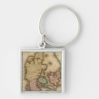 Vintage Map of Denmark (1831) Silver-Colored Square Key Ring