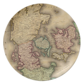 Vintage Map of Denmark (1831) Party Plates