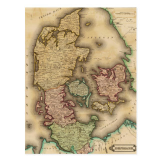 Vintage Map of Denmark (1831) Post Card