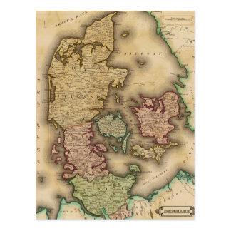 Vintage Map of Denmark (1831) Postcard