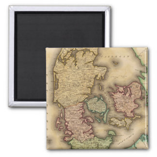 Vintage Map of Denmark (1831) Square Magnet