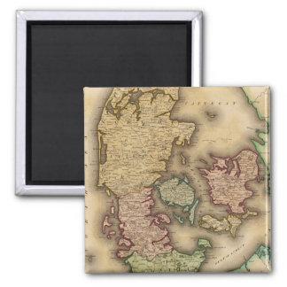 Vintage Map of Denmark (1831) Square Magnet