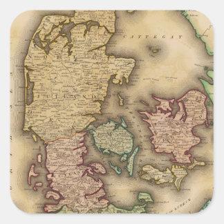 Vintage Map of Denmark (1831) Square Sticker