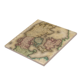 Vintage Map of Denmark (1831) Ceramic Tile