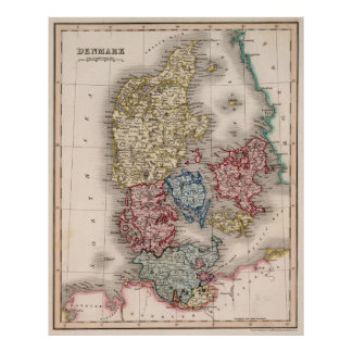 Vintage Map of Denmark (1838) Poster