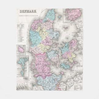 Vintage Map of Denmark (1855) Fleece Blanket