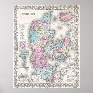 Vintage Map of Denmark (1855) Poster