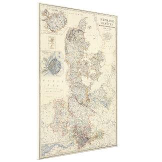 Vintage Map of Denmark (1861) Canvas Print