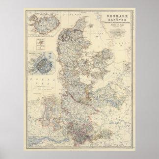 Vintage Map of Denmark (1861) Poster
