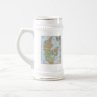 Vintage Map of Denmark (1905) Beer Steins