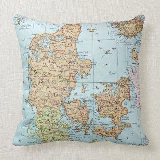 Vintage Map of Denmark 1905 Throw Pillow