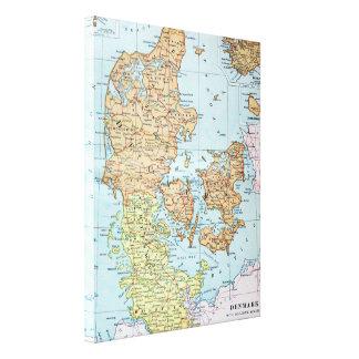 Vintage Map of Denmark (1905) Gallery Wrap Canvas
