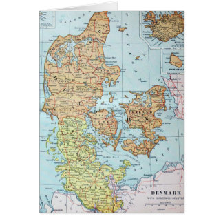 Vintage Map of Denmark (1905) Greeting Card