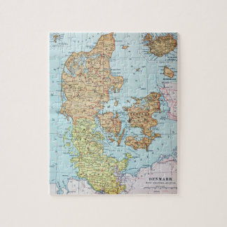 Vintage Map of Denmark (1905) Jigsaw Puzzle