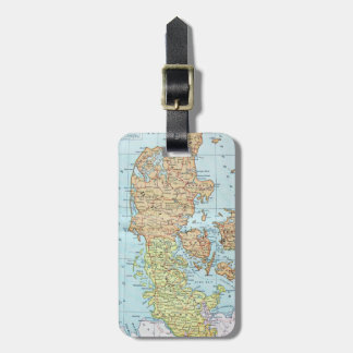 Vintage Map of Denmark (1905) Travel Bag Tags