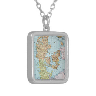 Vintage Map of Denmark 1905 Necklaces