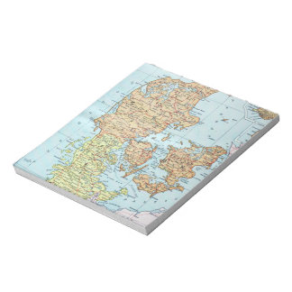 Vintage Map of Denmark 1905 Notepad