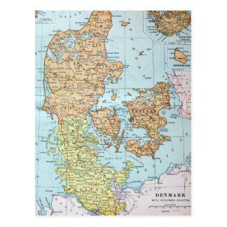 Vintage Map of Denmark (1905) Postcard