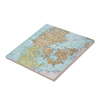 Vintage Map of Denmark (1905) Small Square Tile