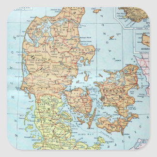 Vintage Map of Denmark (1905) Square Sticker