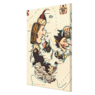 Vintage Map of Denmark with Illustrations (1868) Canvas Print