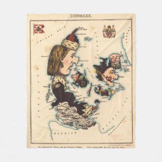 Vintage Map of Denmark with Illustrations (1868) Fleece Blanket