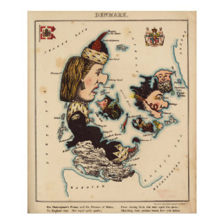 Vintage Map of Denmark with Illustrations (1868) Poster