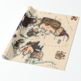 Vintage Map of Denmark with Illustrations (1868) Wrapping Paper