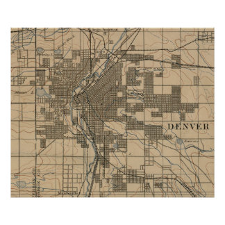Vintage Map of Denver Colorado (1888) Poster