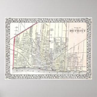 Vintage Map of Detroit Michigan (1872) Poster