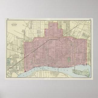 Vintage Map of Detroit Michigan (1901) Poster