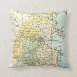 Vintage Map of Dublin and Surrounding Areas (1900) Cushion