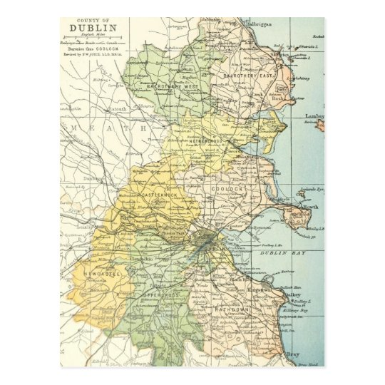 Map Of Uk 1900.Vintage Map Of Dublin And Surrounding Areas 1900 Postcard