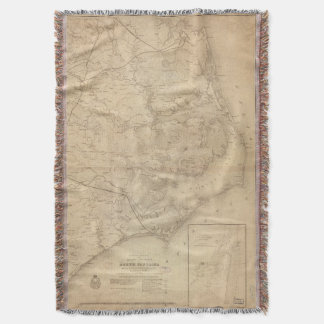 Vintage Map of Eastern North Carolina (1862) Throw Blanket