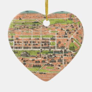 Vintage Map of Edinburgh Scotland (1935) Ceramic Heart Decoration