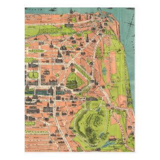 Vintage Map of Edinburgh Scotland (1935) Postcard