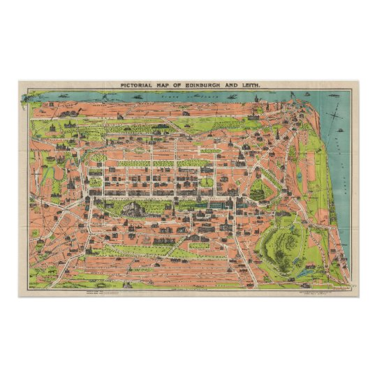 Vintage Map of Edinburgh Scotland (1935) Poster