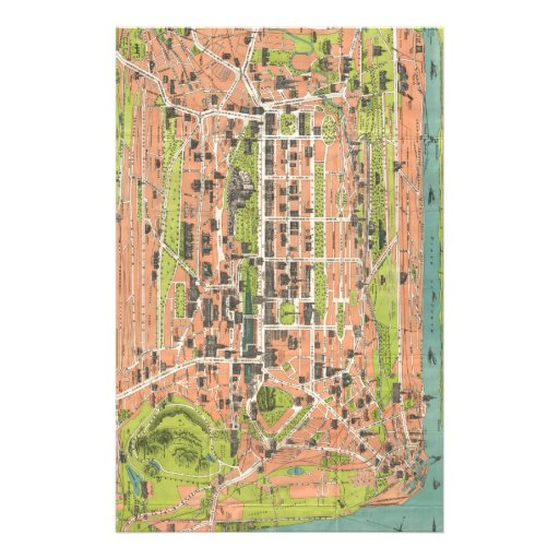 Vintage Map of Edinburgh Scotland (1935) Stationery Paper