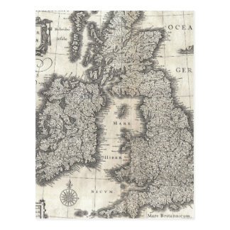 Vintage Map of England and Ireland 1631 Postcard