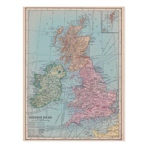 Vintage Map of England Postcard