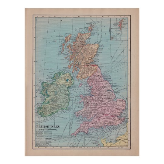 Map Of England Poster.Vintage Map Of England Poster