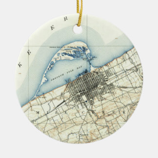 Vintage Map of Erie Pennsylvania (1899) Christmas Ornament