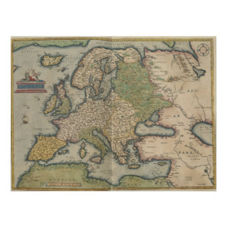 Vintage Map of Europe 1570 Posters