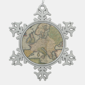 Vintage Map of Europe (1570) Snowflake Pewter Christmas Ornament