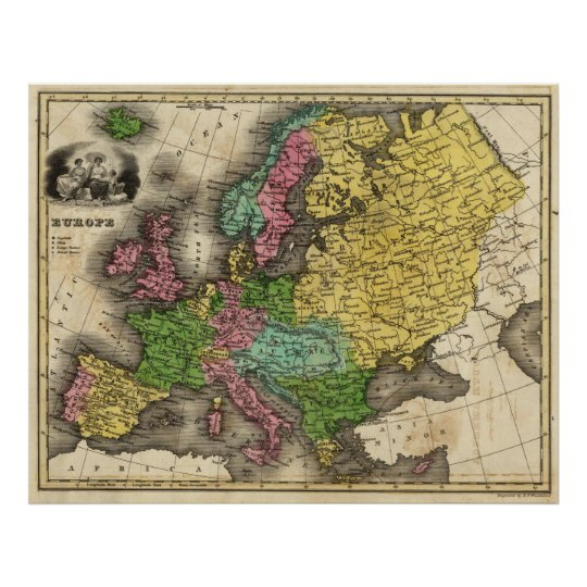 Vintage Map of Europe (1842) Poster
