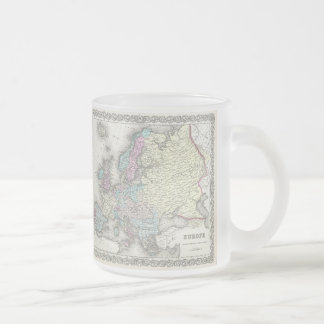 Vintage Map of Europe (1855) Frosted Glass Mug