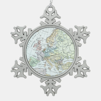 Vintage Map of Europe (1899) Snowflake Pewter Christmas Ornament