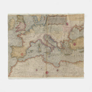 Vintage Map of Europe and The Mediterranean (1569) Fleece Blanket