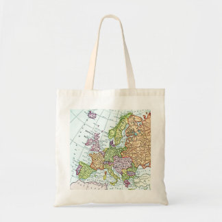 Vintage map of Europe colorful pastels Budget Tote Bag