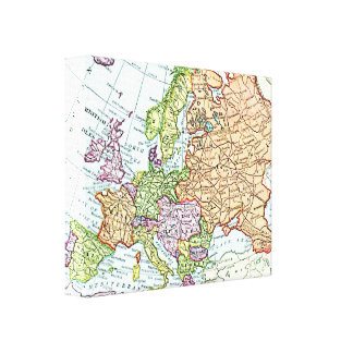 Vintage map of Europe colorful pastels Canvas Print